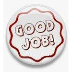 BUTTON PIN: GOOD JOB - RED (TA3077)