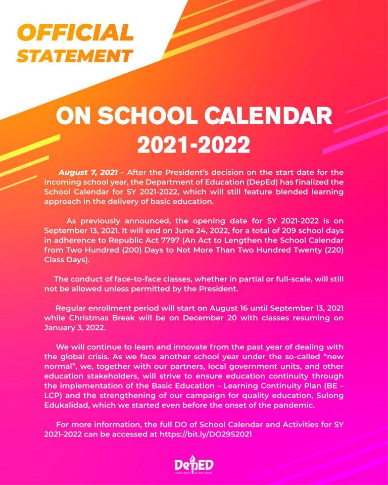 DepEd Announcement School Calendar