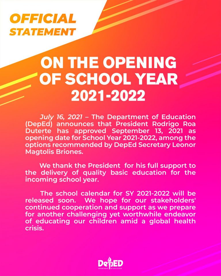 DepEd Announcement School Opening